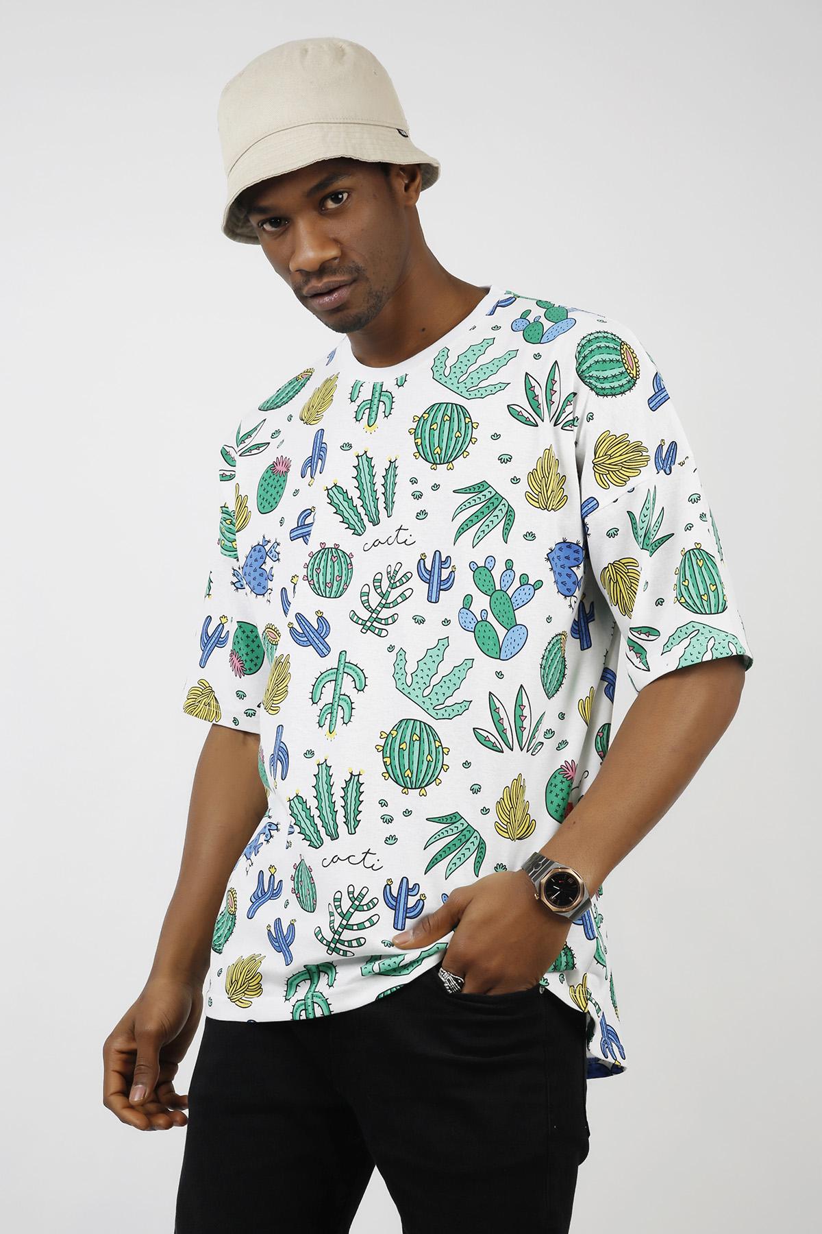 XHAN - Beyaz Kaktüs Desenli Oversize T-Shirt 1KXE1-44724-01