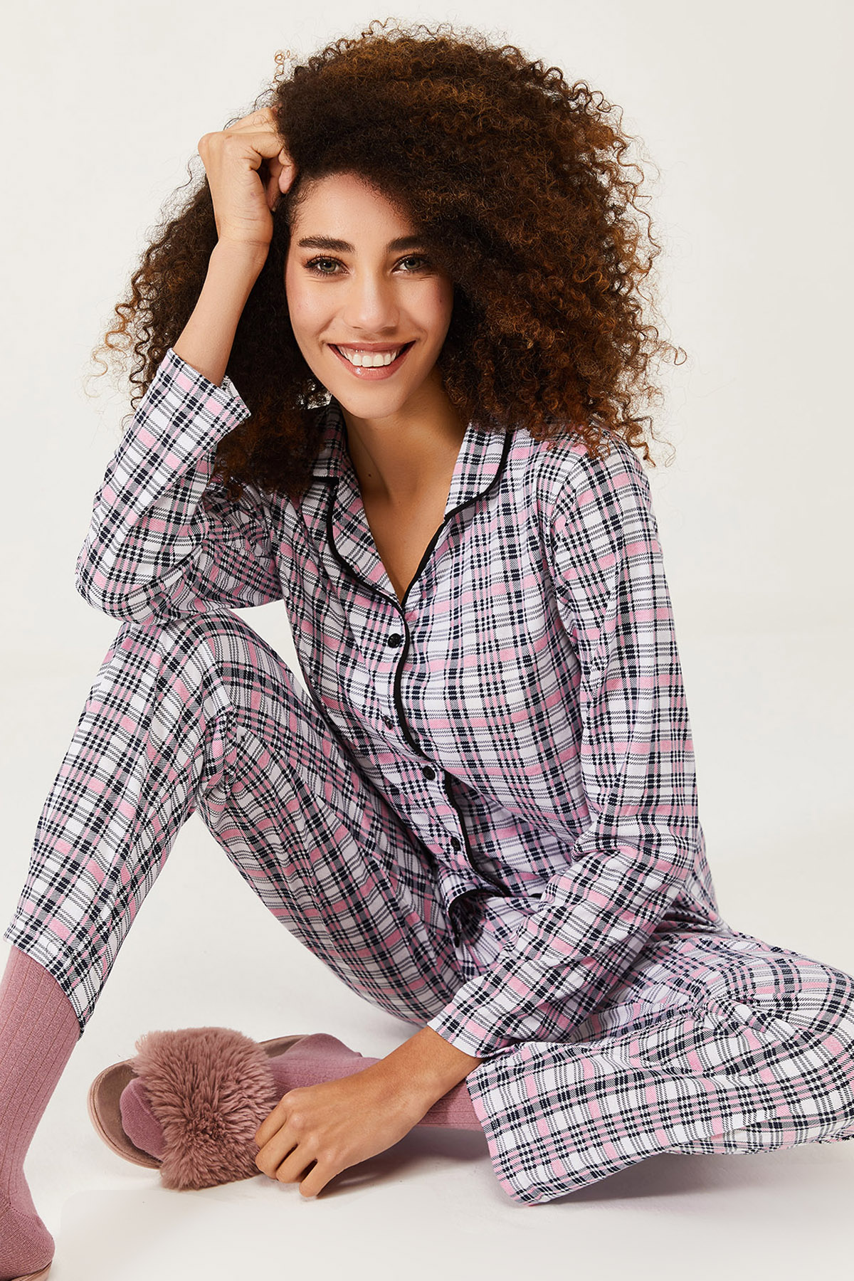 XHAN - Beyaz Kareli Örme Pijama Takımı 1KXK8-44581-01