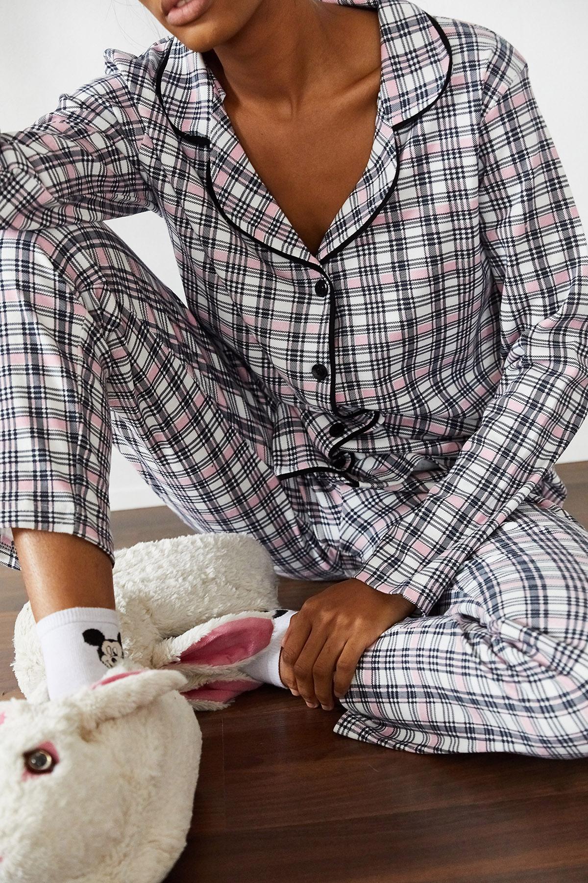 XHAN - Beyaz Kareli Örme Pijama Takımı 1KXK8-44695-01