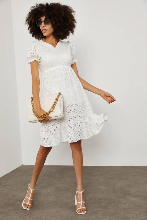 XHAN - Beyaz Karpuz Kol V Yaka Elbise 1YXK6-45143-01
