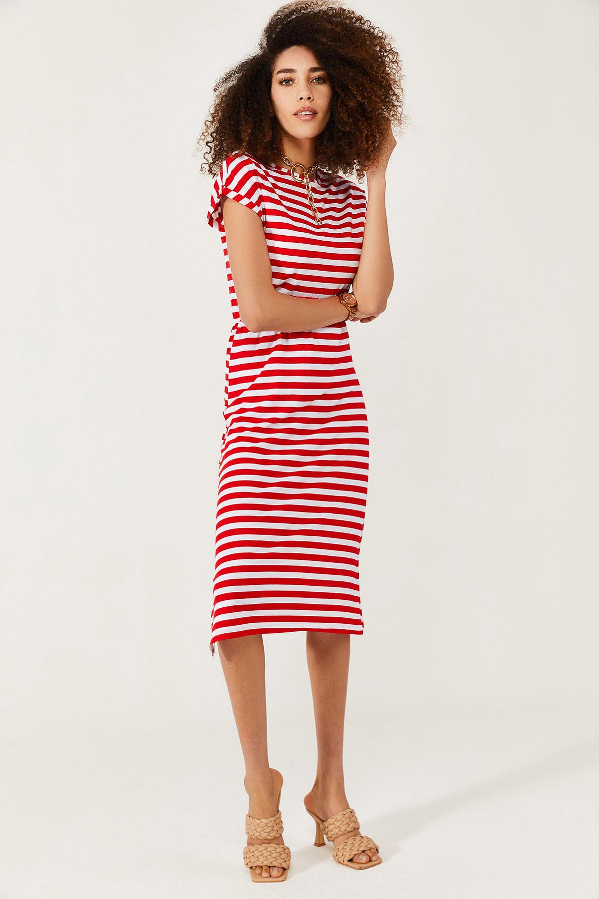 XHAN - Beyaz & Kırmızı Yumuşak Dokulu Esnek Yırtmaçlı Elbise 1KXK6-44569-80