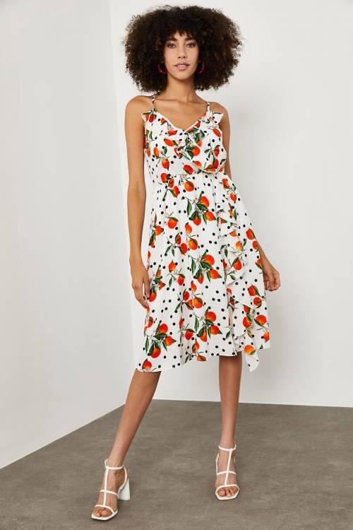 XHAN - Beyaz Meyve Desenli Kruvaze Yaka Elbise 1YXK6-45141-01