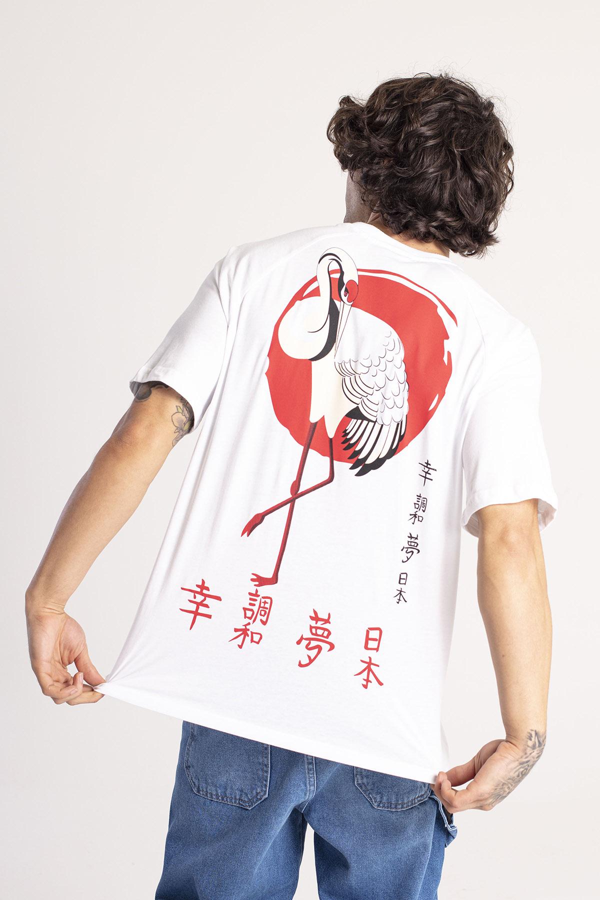 XHAN - Beyaz Önü & Arkası Baskılı Oversize T-Shirt 1KXE1-44663-01