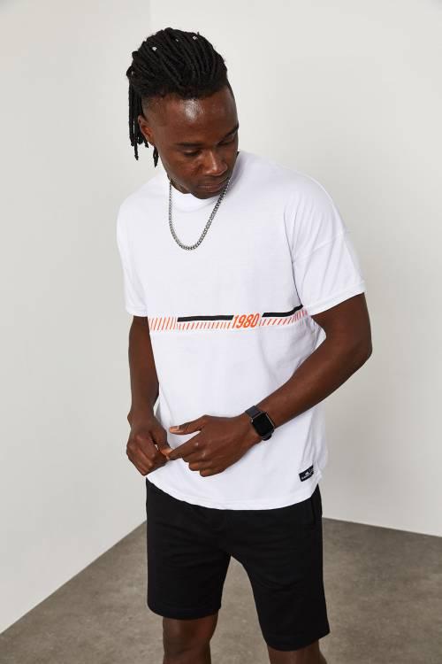 XHAN - Beyaz Önü Yazı Detaylı T-Shirt 1YXE1-45089-01