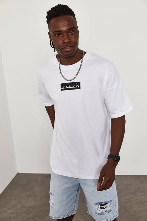 XHAN - Beyaz Önü&Arkası Baskı Overize T-Shirt 1YXE1-45090-01