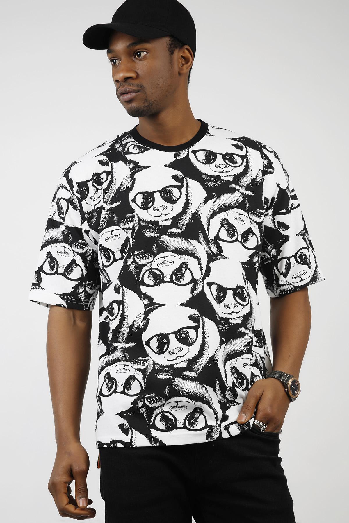 XHAN - Beyaz Panda Desenli Oversize T-Shirt 1KXE1-44728-01