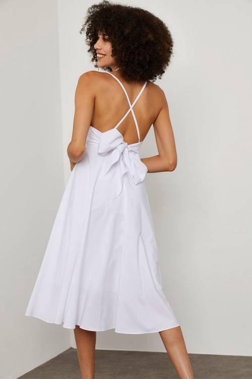 XHAN - Beyaz Sırt & Göğüs Dekolteli Midi Elbise 1YXK6-45129-01