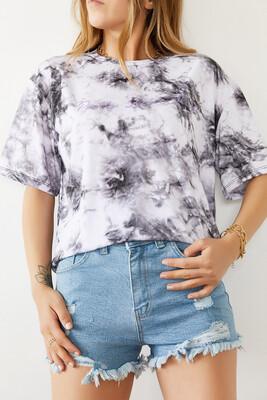 XHAN - Beyaz & Siyah Batik Desen Baskılı Tişört 0YXK1-43928-02