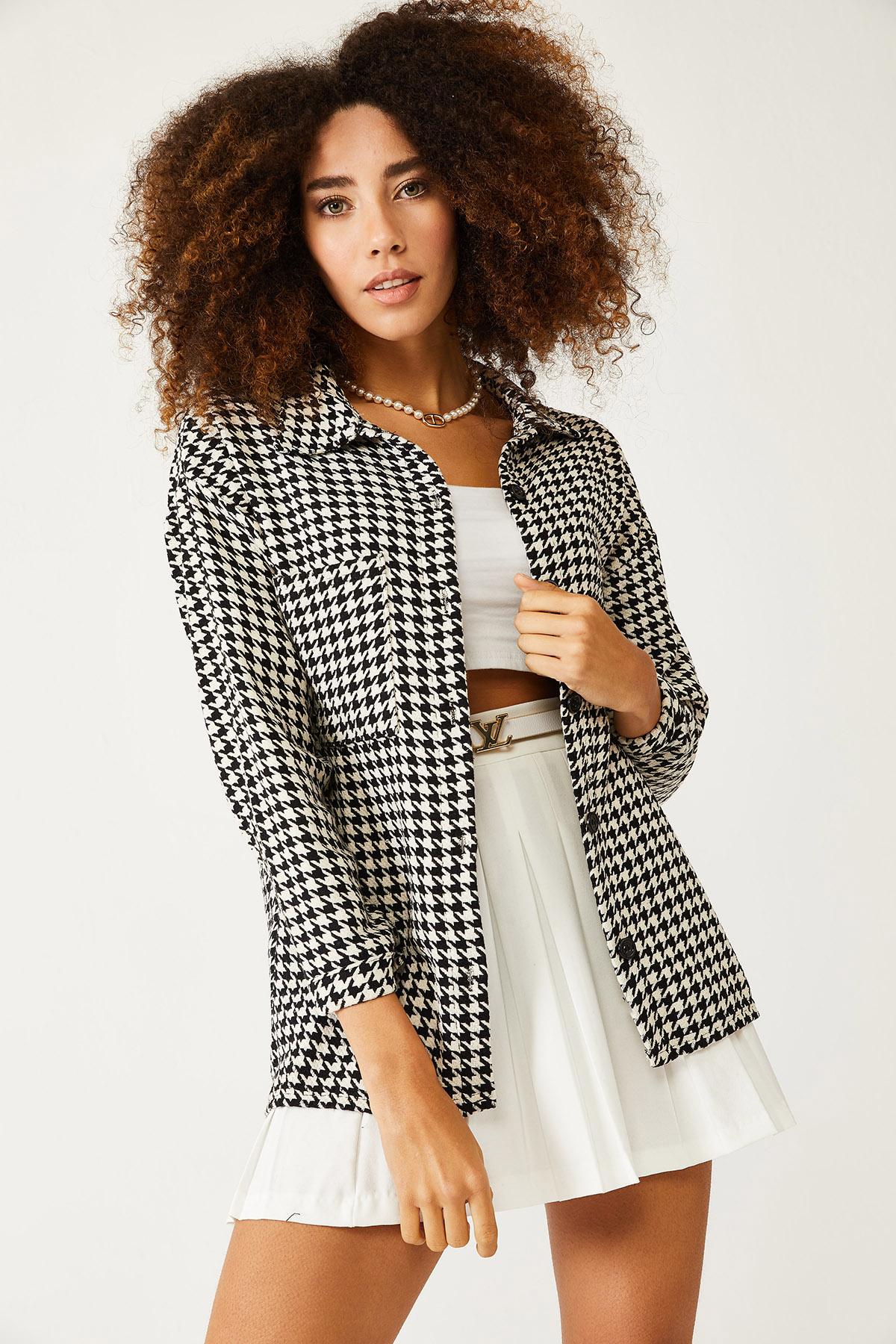 XHAN - Beyaz & Siyah Kazayağı Desenli Yünlü Ceket Gömlek 1KXK2-44432-01