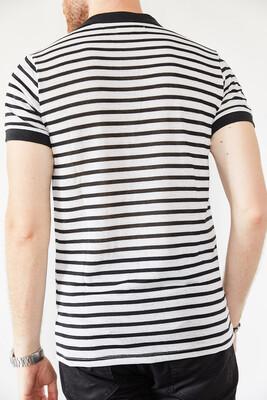 XHAN - Beyaz & Siyah Polo Yaka Çizgili T-Shirt 0YXE1-44127-02