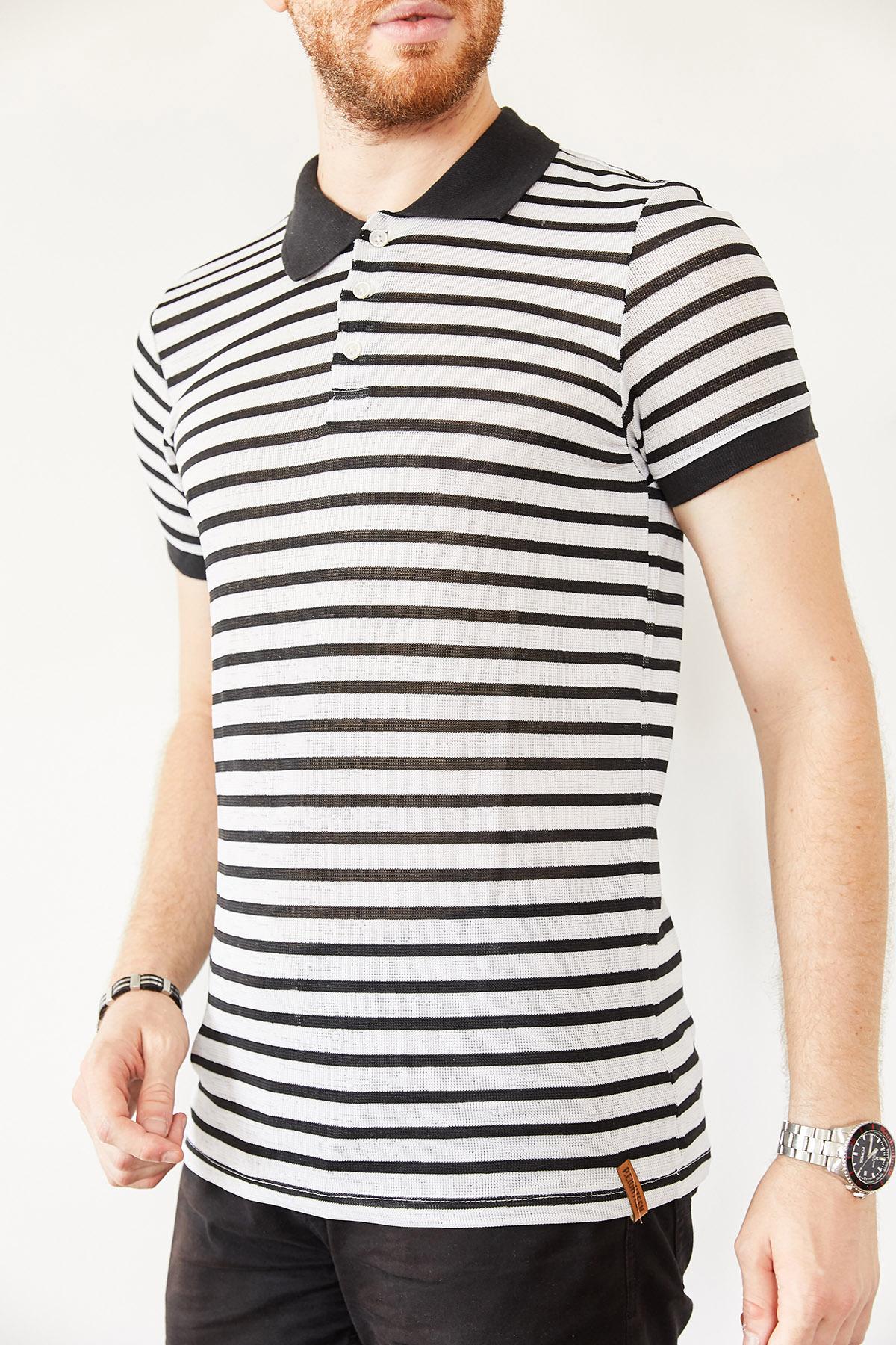 Beyaz & Siyah Polo Yaka Çizgili T-Shirt 0YXE1-44127-02 - Thumbnail