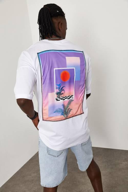 XHAN - Beyaz Sunshine Baskılı Oversize T-Shirt 1YXE1-45091-01