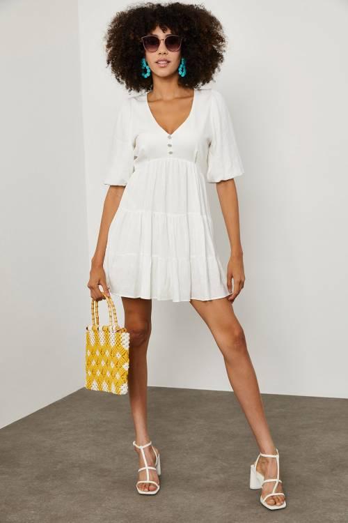 XHAN - Beyaz Taş Düğmeli Balon Kol Keten Elbise 1YXK6-45139-01