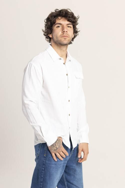 XHAN - Beyaz Tek Cepli Gömlek 1KXE2-44812-01