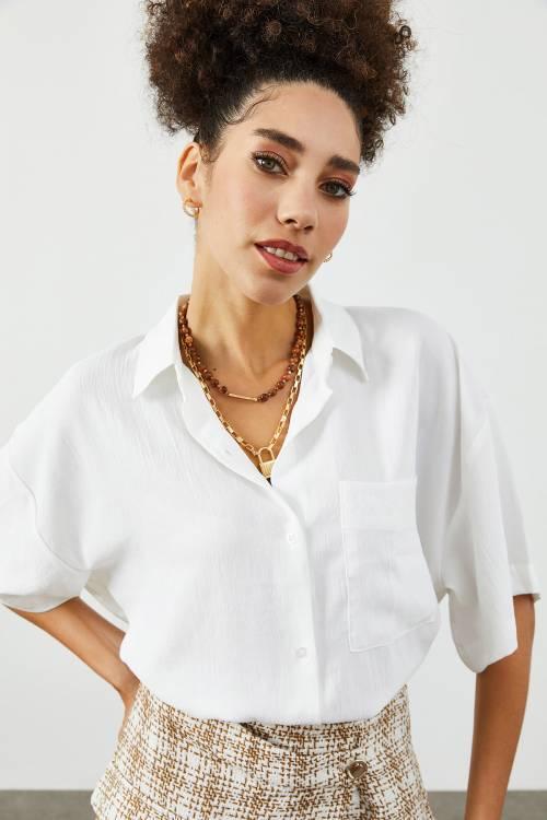 XHAN - Beyaz Tek Cepli Oversize Gömlek 1YXK2-45318-01