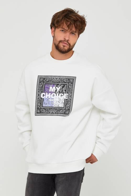 XHAN - Beyaz Üç İplik Baskılı Sweatshirt 2KXE8-45500-01