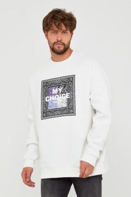 Beyaz Üç İplik Baskılı Sweatshirt 2KXE8-45500-01 - Thumbnail