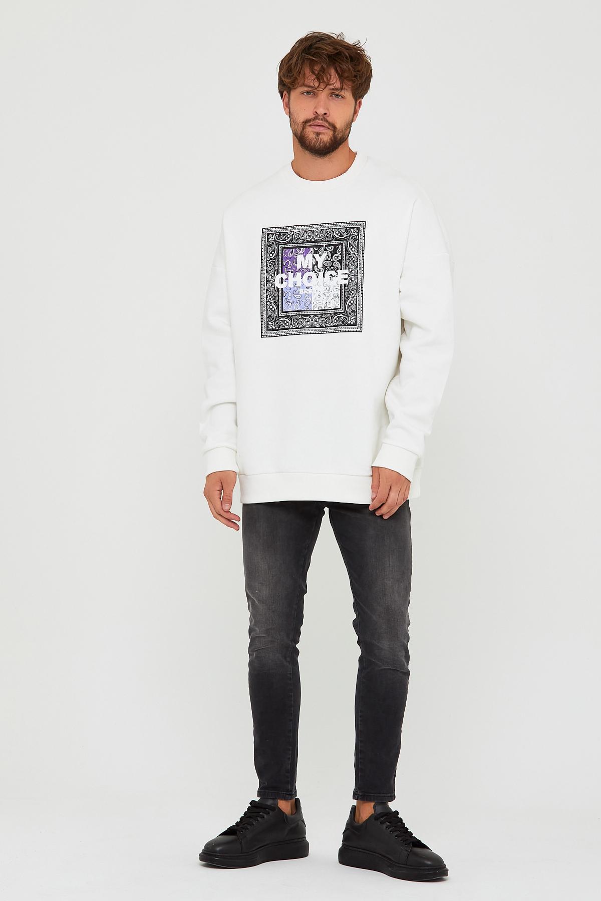 Beyaz Üç İplik Baskılı Sweatshirt 2KXE8-45500-01