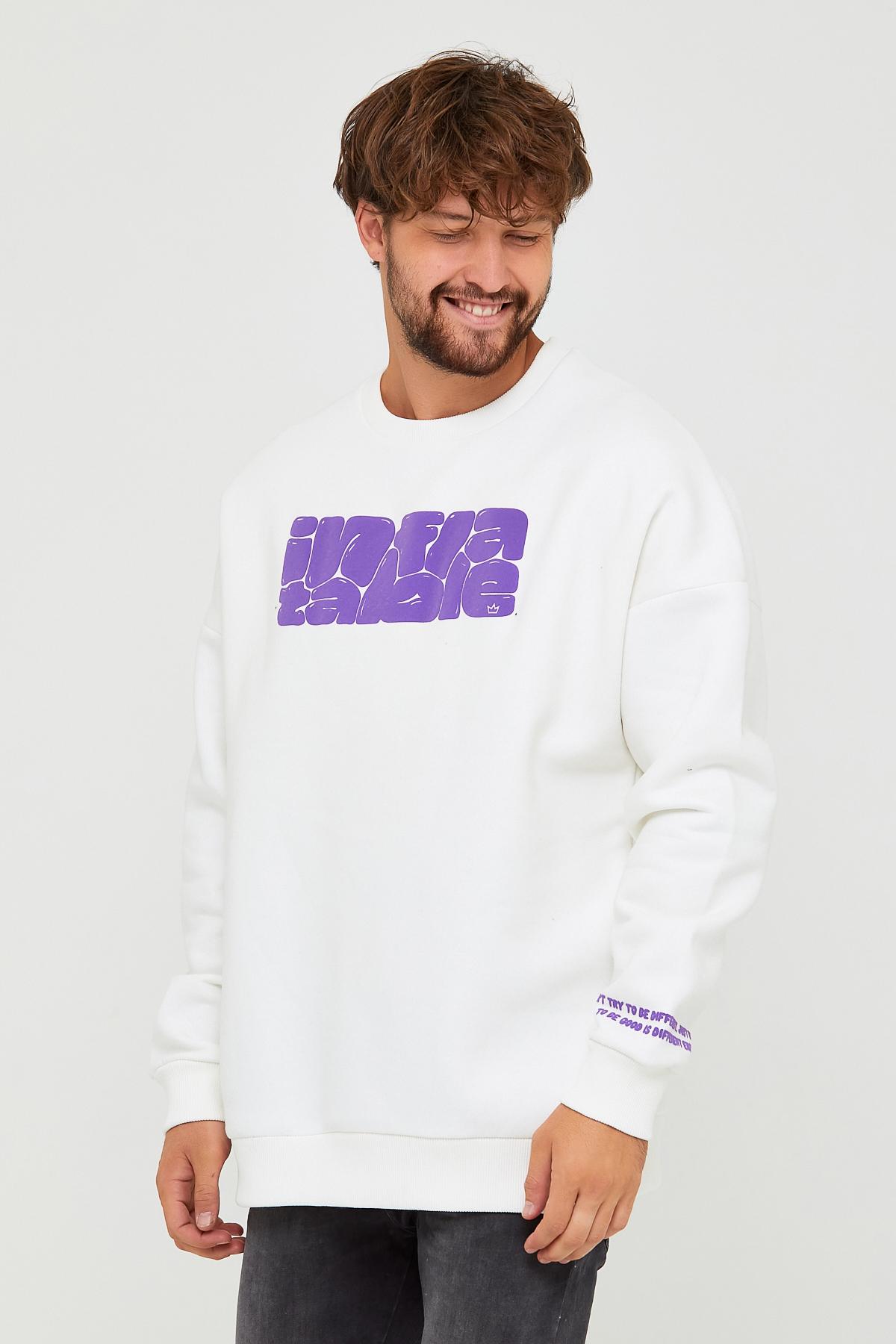 Beyaz Üç İplik Baskılı Sweatshirt 2KXE8-45501-01