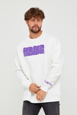 Beyaz Üç İplik Baskılı Sweatshirt 2KXE8-45501-01 - Thumbnail