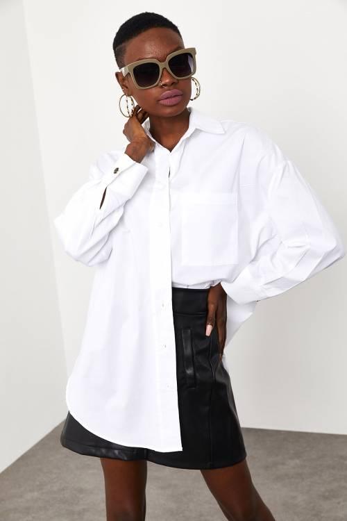 XHAN - Beyaz Yaka ve Kolu Taş Detaylı Oversize Gömlek 1KXK2-44822-01
