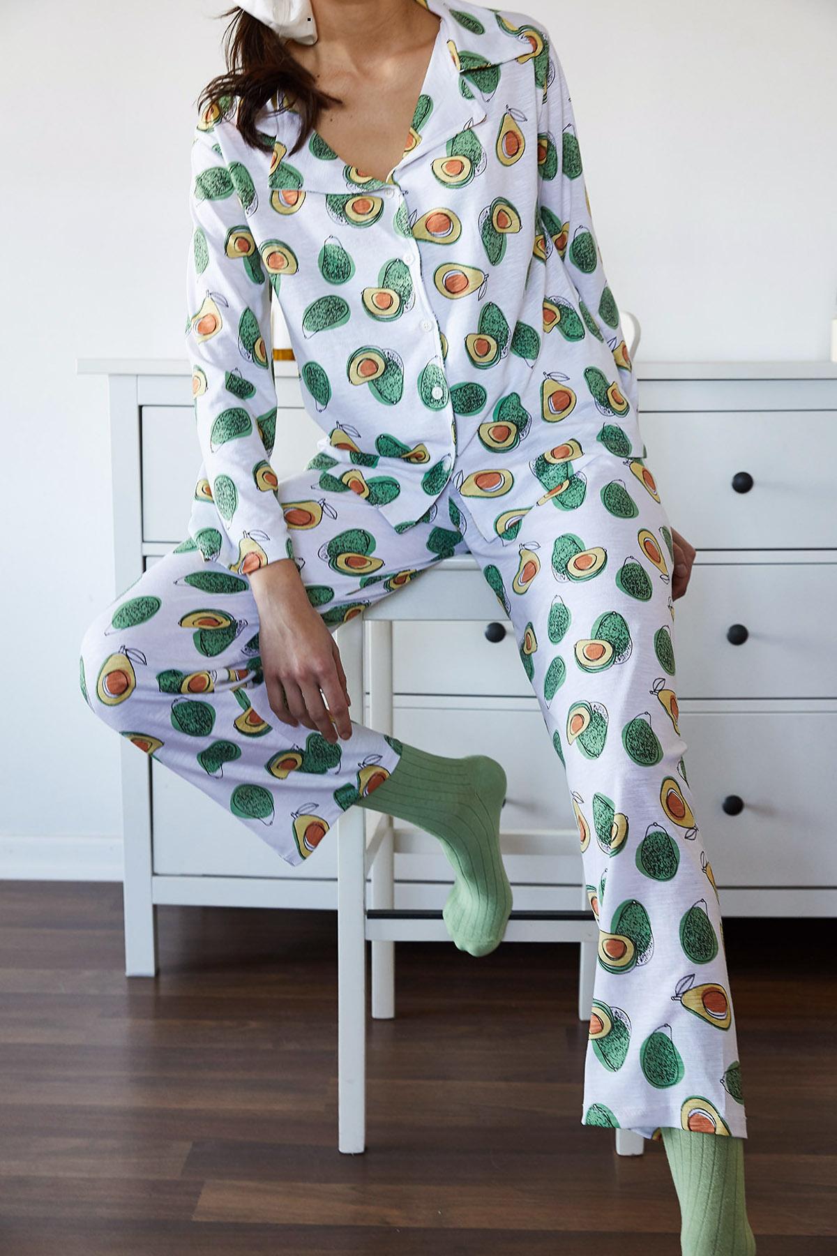 XHAN - Beyaz & Yeşil Avokado Desenli Pijama Takımı 1KXK8-44700-78