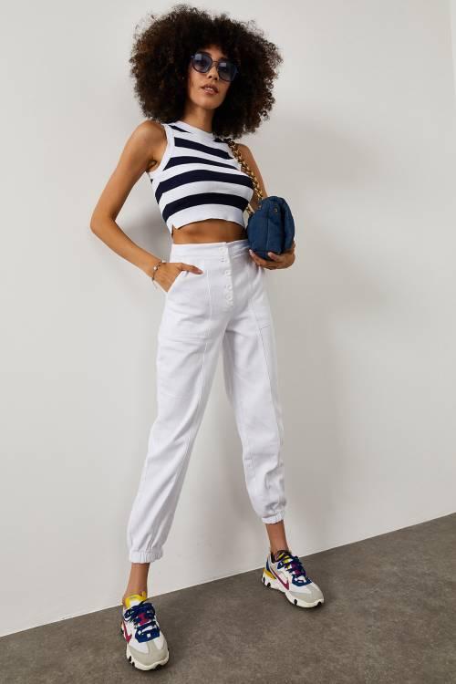 XHAN - Beyaz Yüksek Bel Paçası Lastikli Pantolon 1YXK5-45122-01