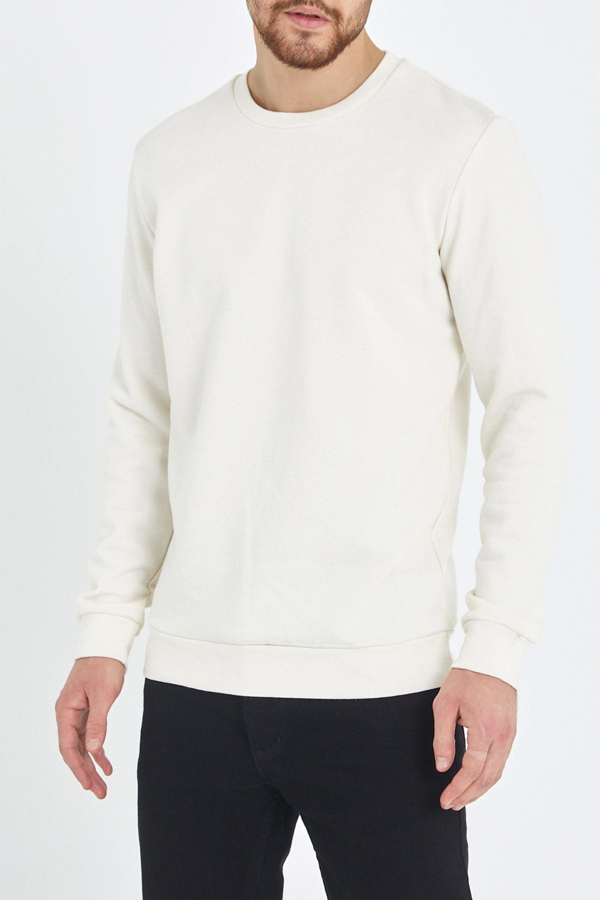 XHAN - Beyaz Yumuşak Dokulu Basic Bisiklet Yaka Sweatshirt 1KXE8-44487-01