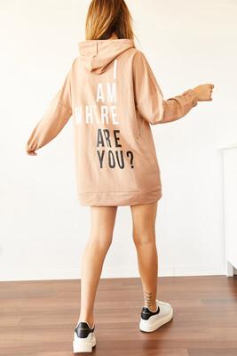 XHAN - Bisküvi Rengi Sırt Baskılı Sweatshirt Elbise 0YXK8-44006-70