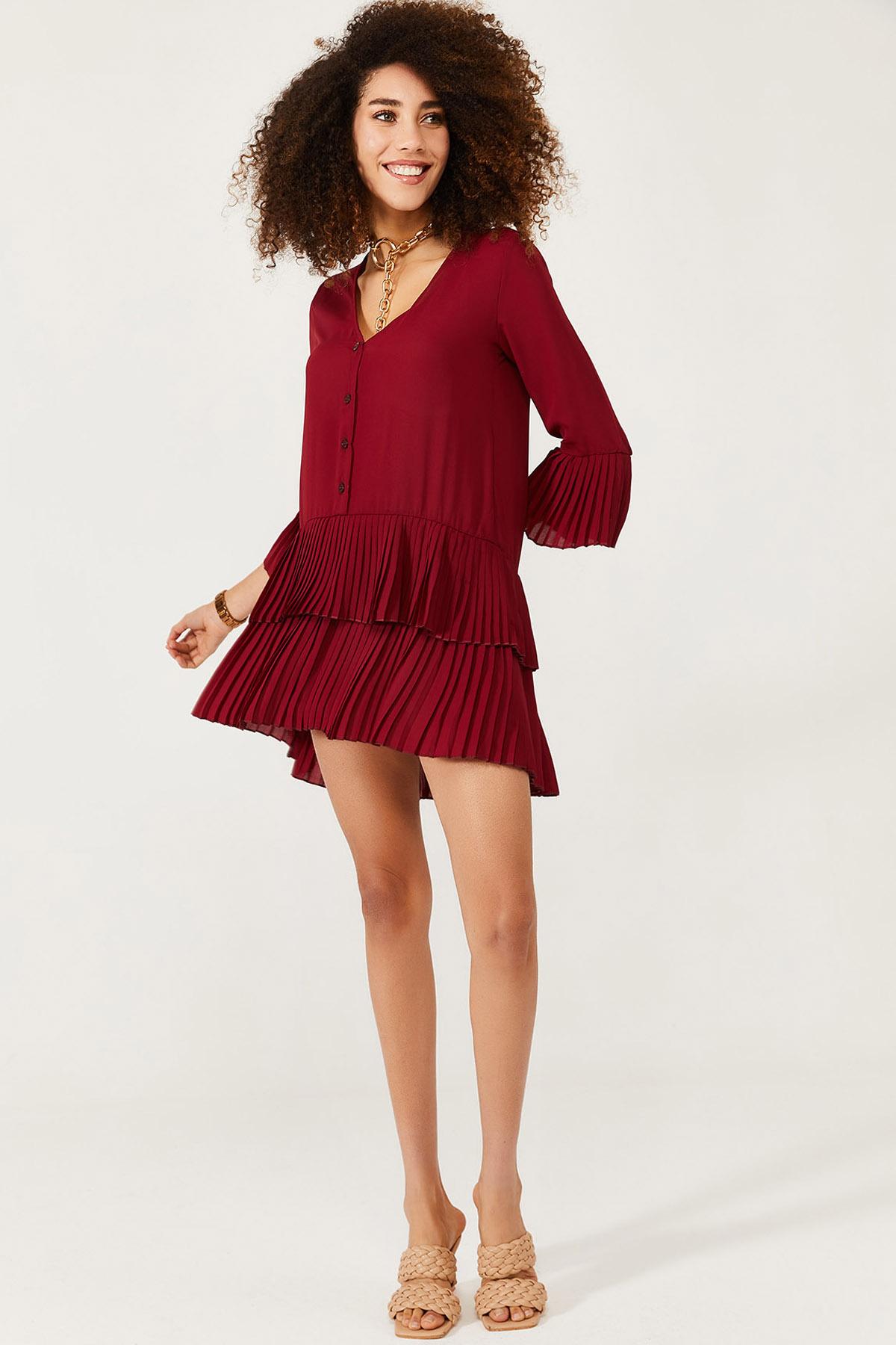XHAN - Bordo Eteği Pileli Elbise 1KXK6-44568-05