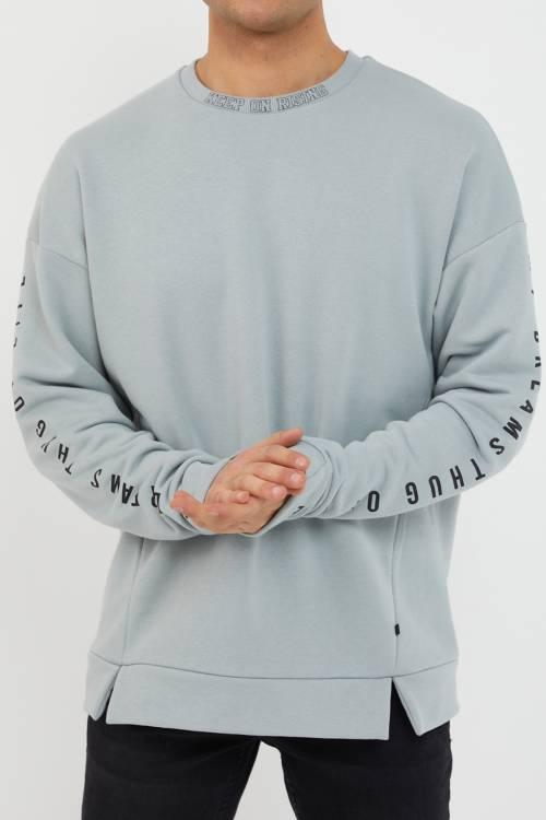 XHAN - Buz Mavisi Baskılı Yumuşak Dokulu Sweatshirt 1KXE8-44485-43