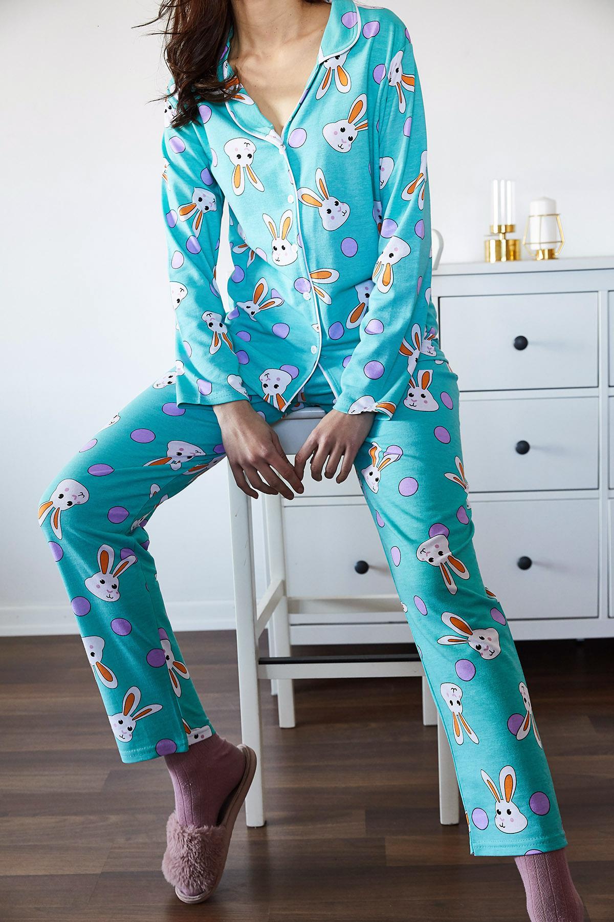 Buz Mavisi Tavşan Desenli Pijama Takımı 1KXK8-44721-43 - Thumbnail