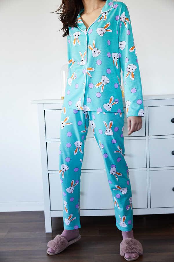 Buz Mavisi Tavşan Desenli Pijama Takımı 1KXK8-44721-43
