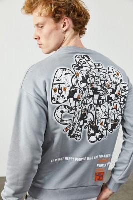 XHAN - Buz Rengi Arkası Baskı Detaylı Sweatshirt 2KXE8-45358-62