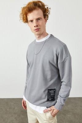 XHAN - Buz Rengi Yazı Detaylı Sweatshirt 2KXE8-45348-62