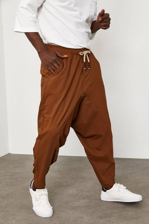 XHAN - Camel Beli Lastikli&Bağcıklı Şalvar Pantolon 1YXE5-45103-53