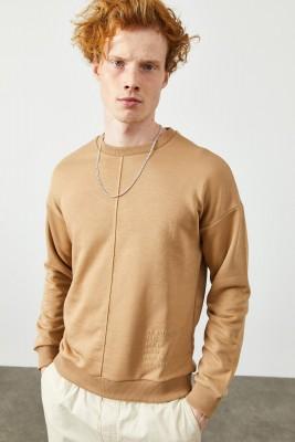 XHAN - Camel Yazı Detaylı Sweatshirt 2KXE8-45347-53