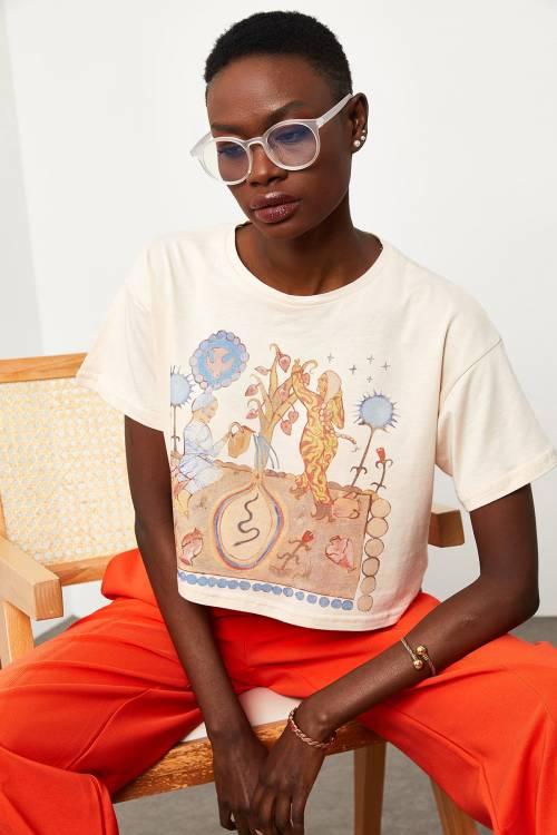 XHAN - Ekru Etnik Baskılı T-Shirt 1KXK1-44837-52