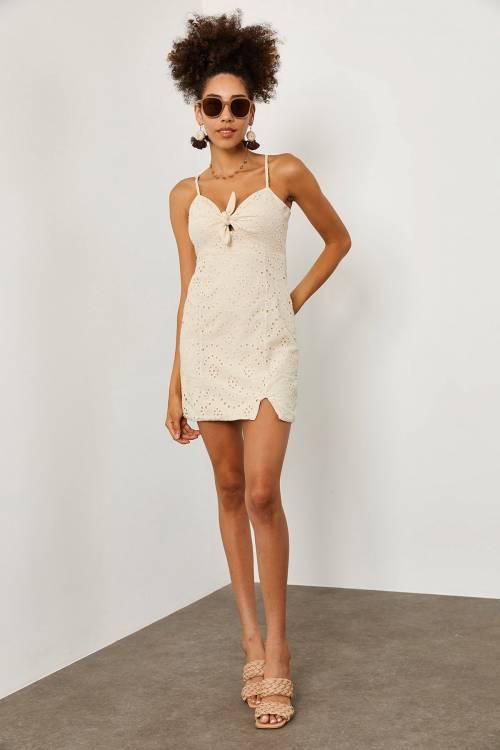 XHAN - Ekru Güpürlü Askılı Elbise 1YXK6-45229-52