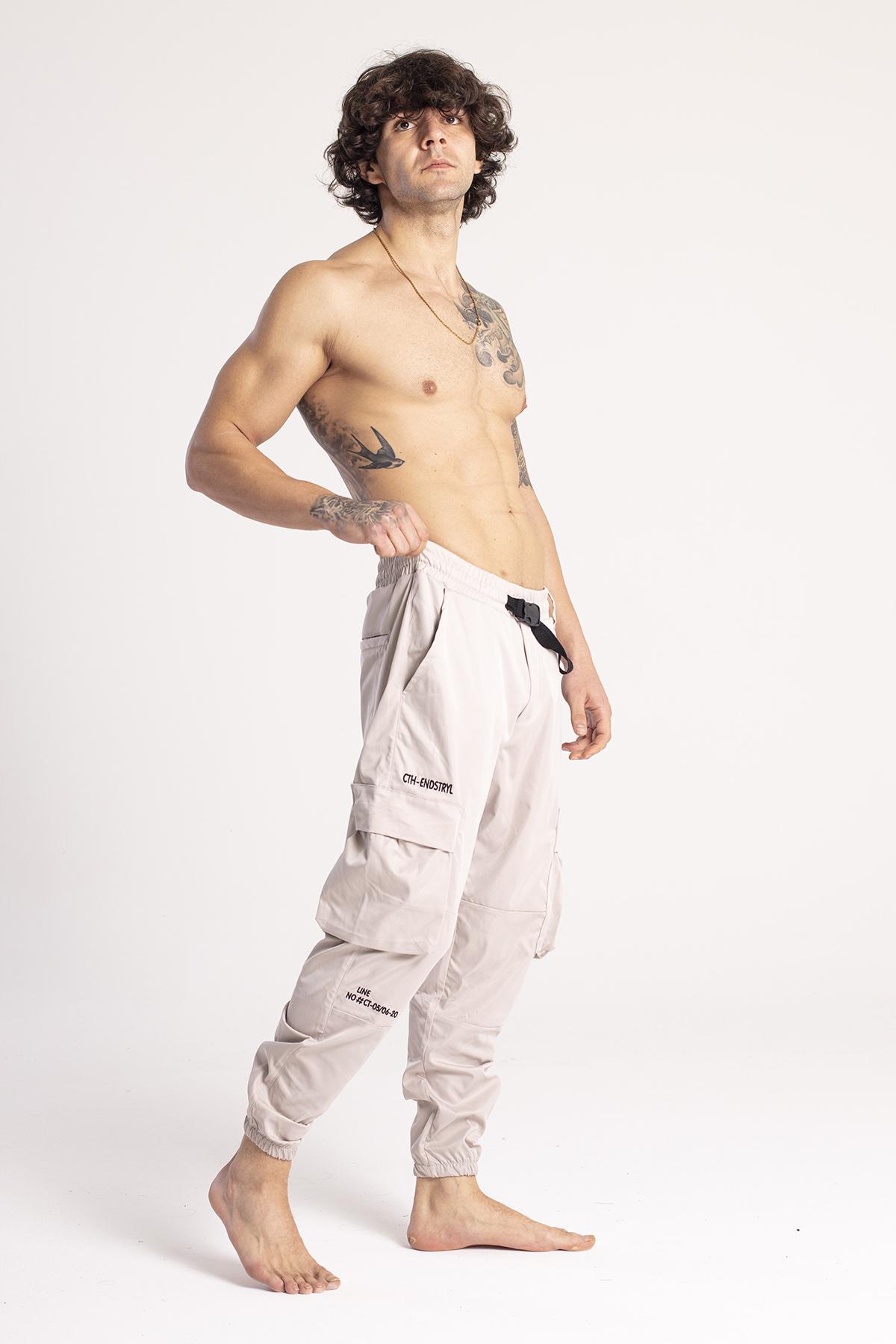 XHAN - Ekru Nakışlı Kargo Cep Jogger Pantolon 1KXE5-44674-52