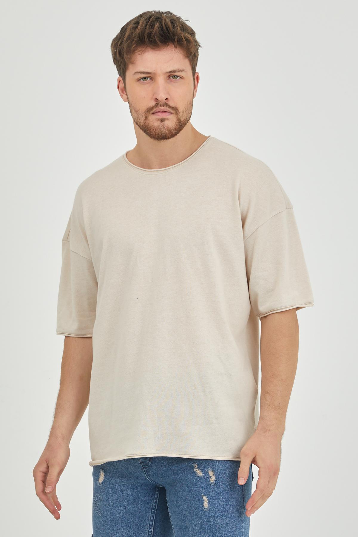 XHAN - Ekru Pis Yaka Salaş T-Shirt 1KXE1-44625-52