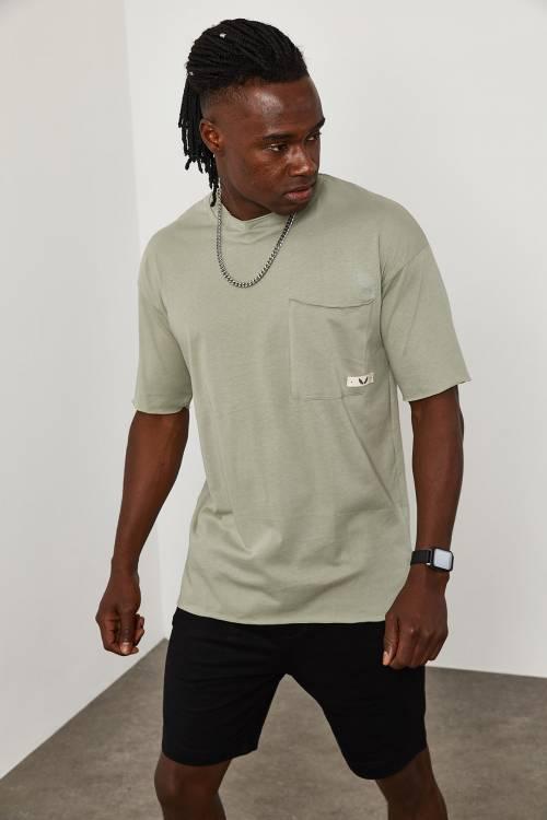 XHAN - Füme Cep Detaylı Dikişsiz Oversize T-Shirt 1YXE1-45088-33