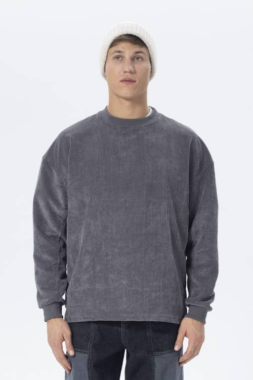 XHAN - Füme Oversize Fitilli Kadife Sweatshirt 2KXE8-45512-33