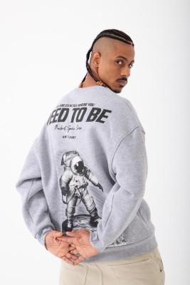XHAN - Gri Baskılı Sweatshirt 2KXE8-45405-03