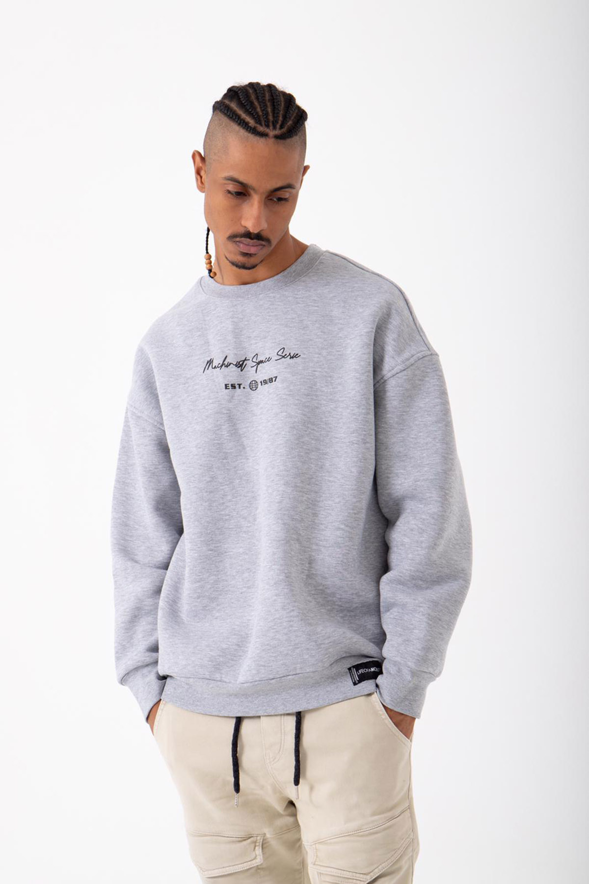 Gri Baskılı Sweatshirt 2KXE8-45405-03