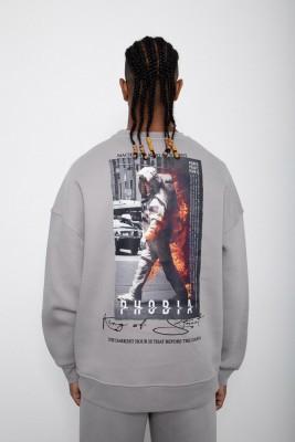 XHAN - Gri Baskılı Sweatshirt 2KXE8-45406-03