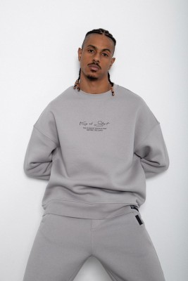 Gri Baskılı Sweatshirt 2KXE8-45406-03 - Thumbnail