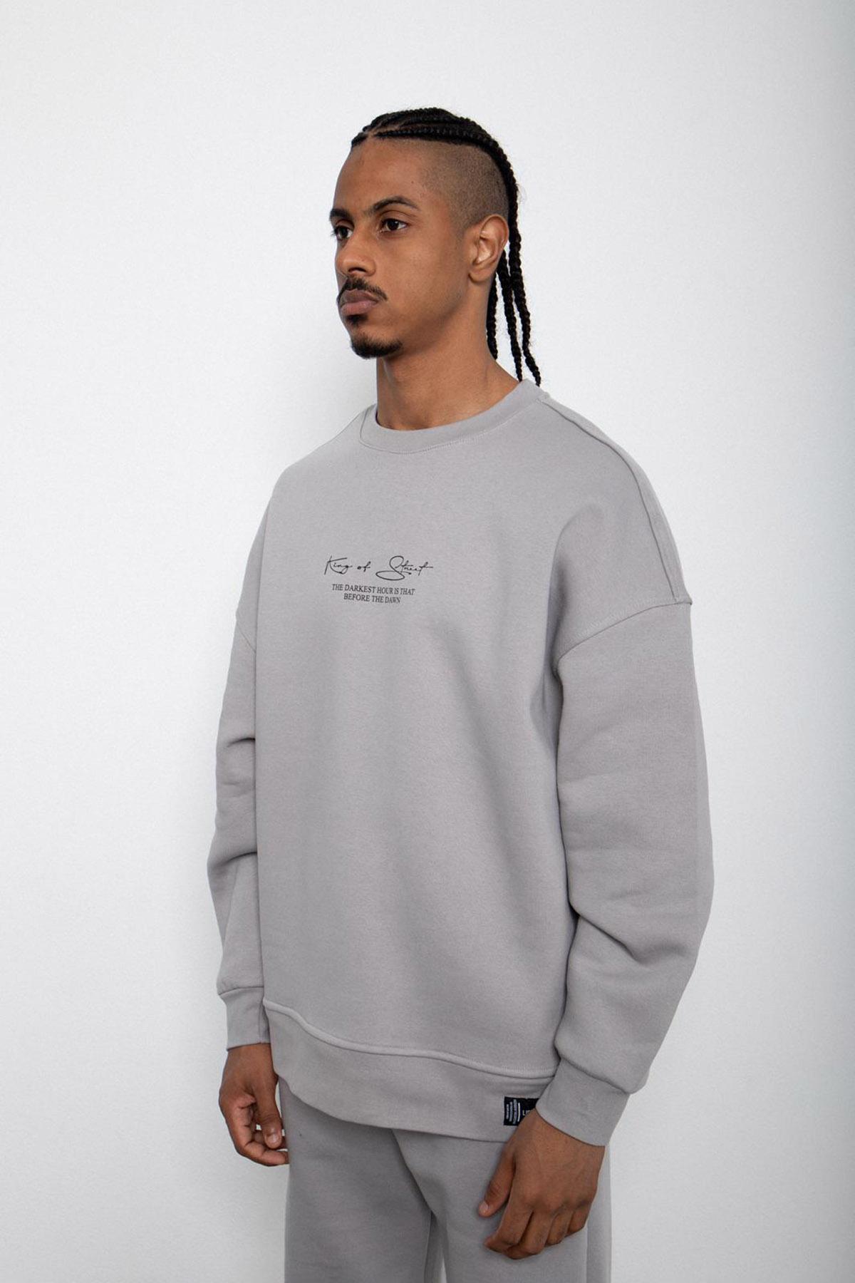 Gri Baskılı Sweatshirt 2KXE8-45406-03