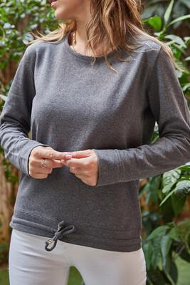 XHAN - Gri Beli Bağcıklı Sweatshirt 9YXK2-41639-03