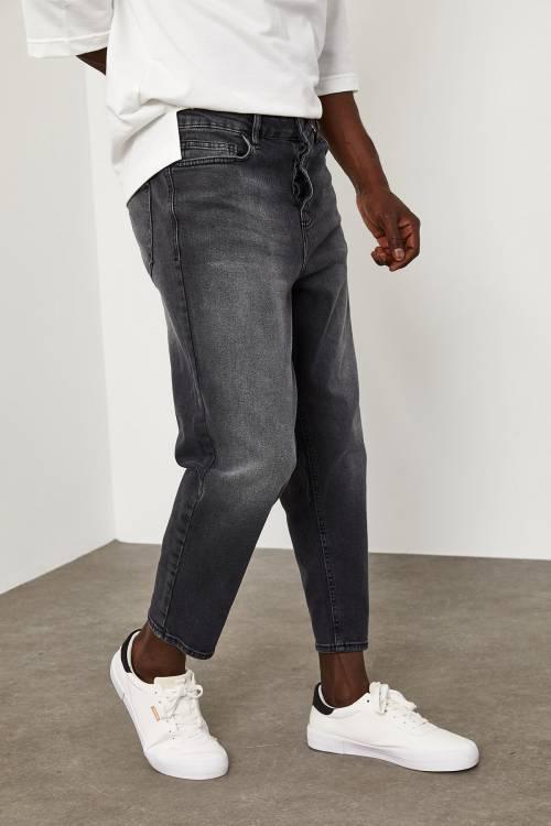 XHAN - Gri Bilek Boy Yıkamalı Kot Pantolon 1YXE5-45105-03